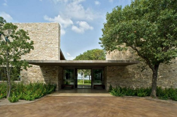 Glass House Design With Concrete Structure And Natural