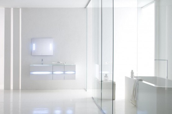 White Bathroom Vanities With Fluorescent Light Fixtures By Arlex Bathroom Designs Home Modern
